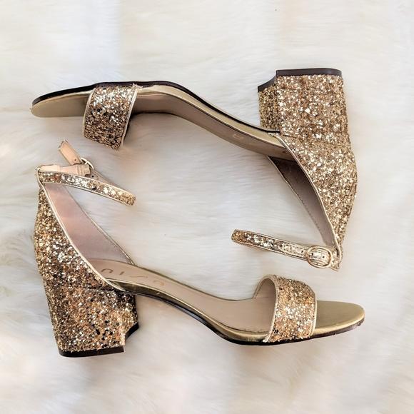 Unisa Gold Glitter Block Heel Sandals